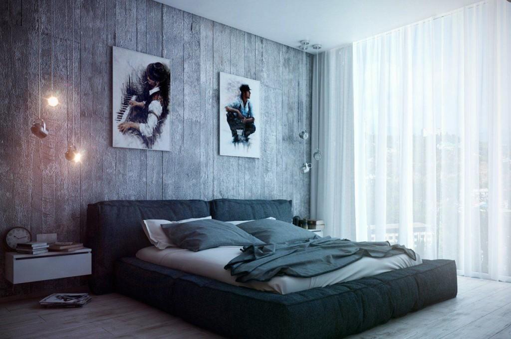 Кровать-матрас в спальне молодого человека