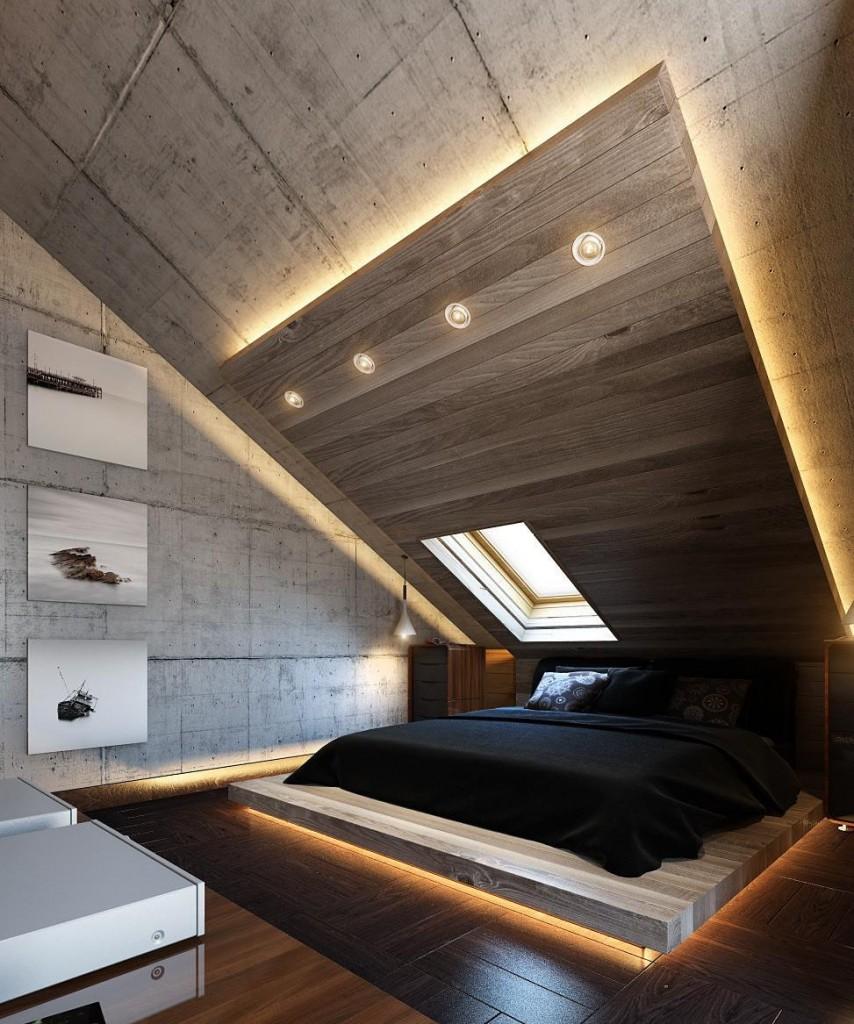 Декорирование потолка в мансарде со скошенной крышей