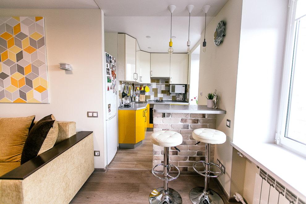 Интерьер кухни-гостиной в хрущевке после ремонта