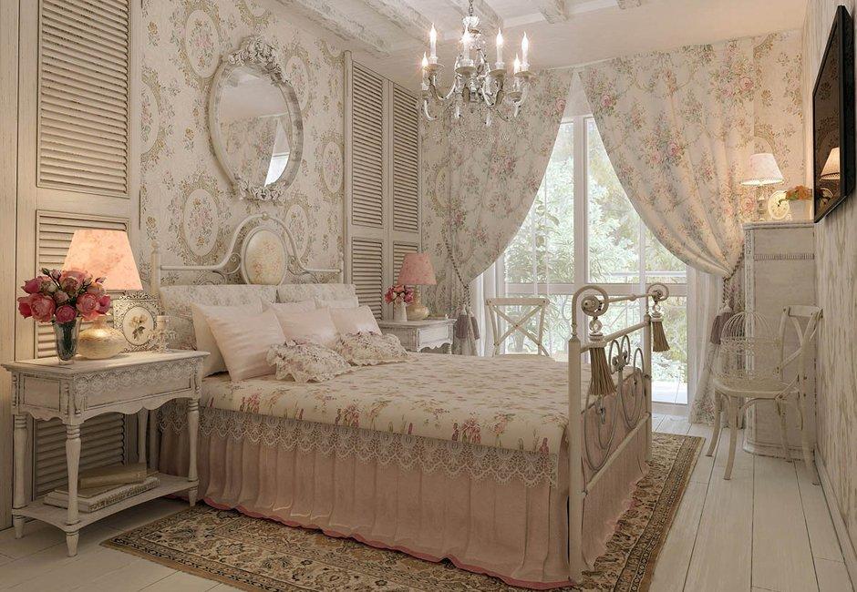 Настольные лампы в спальне деревенского стиля