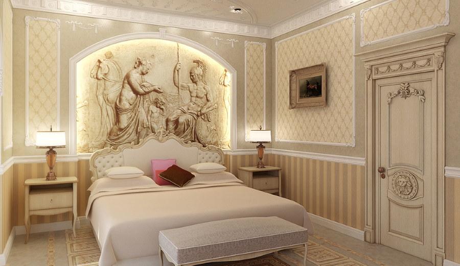 Лампы на прикроватных тумбах в спальне классического стиля