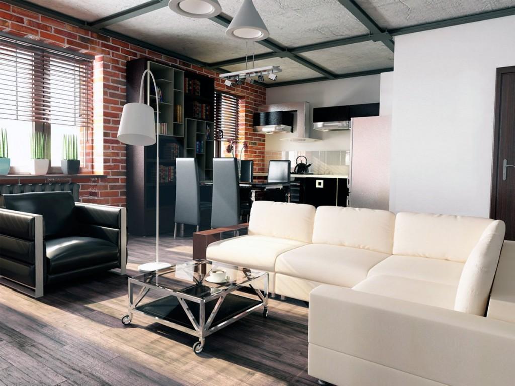 Квартира-студия с кирпичной стеной в интерьере