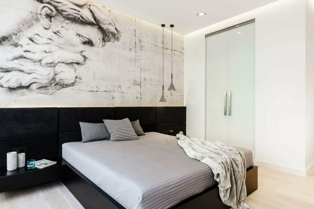 Уютная спальня хрущевки в стиле минимализма
