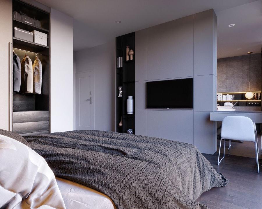 Встроенная мебель в мужской спальне