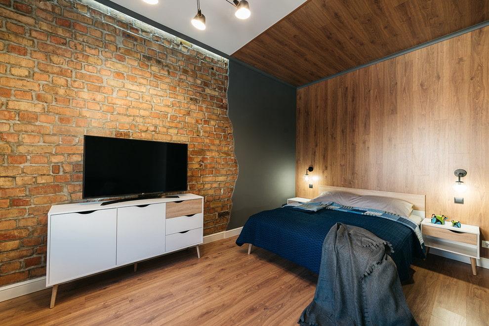 Комбинированная отделка комнаты для мужчины