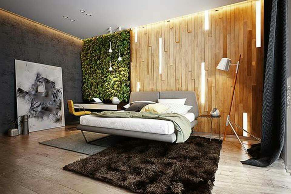 Мужская спальня в стиле эколофта