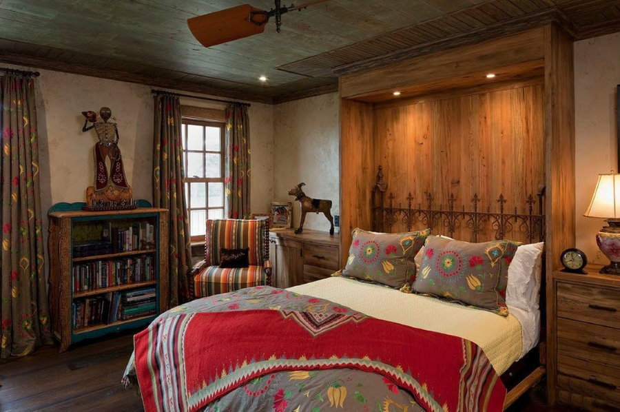 Ниша в интерьере спальни деревенского стиля
