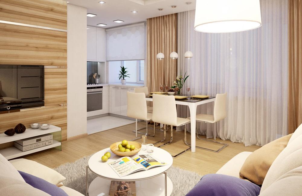 Дизайн кухни-гостиной в кирпичной хрущевке