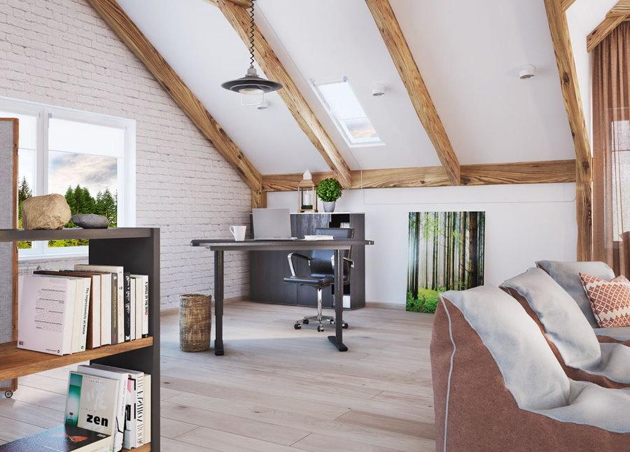 Интерьер мансардной комнаты с односкатной крышей