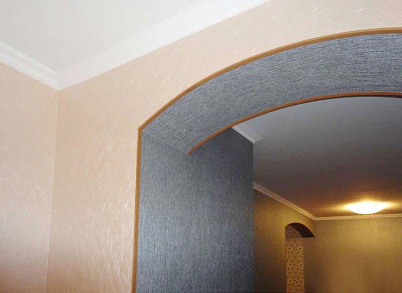 Оклейка арки виниловыми обоями под декоративную штукатурку