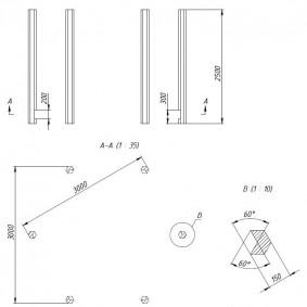 Чертеж деревянных стоек для шестиугольной беседки