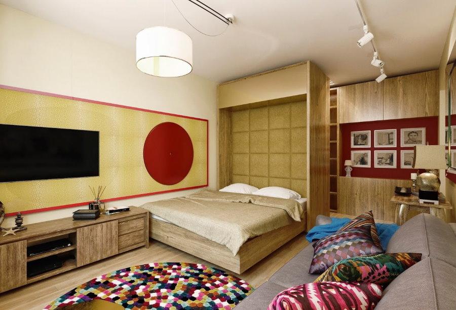 Освещение комнаты с гостевой и спальной зонами