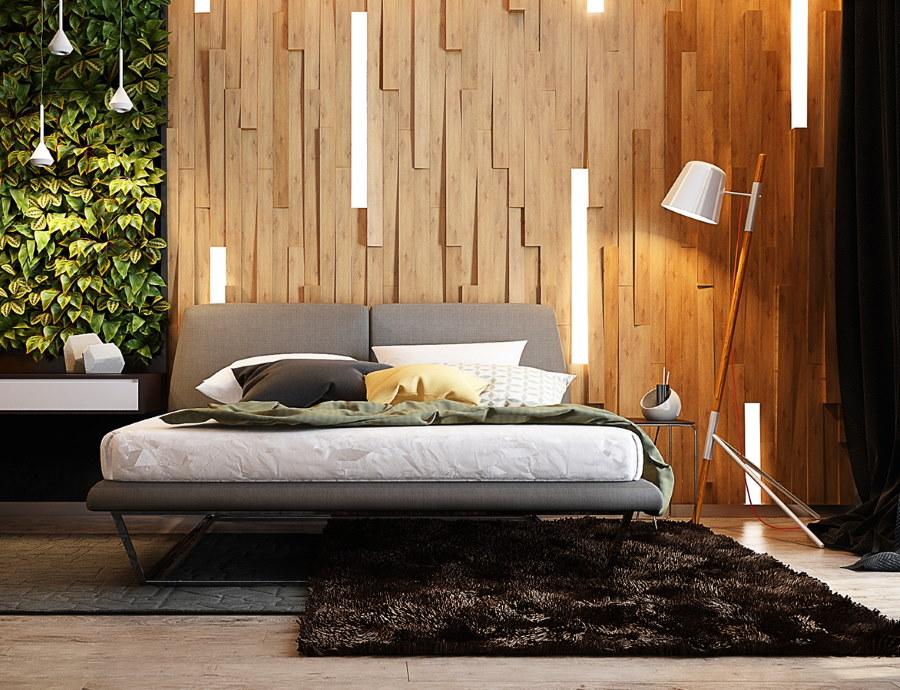 Деревянные панели в отделке спальной комнаты