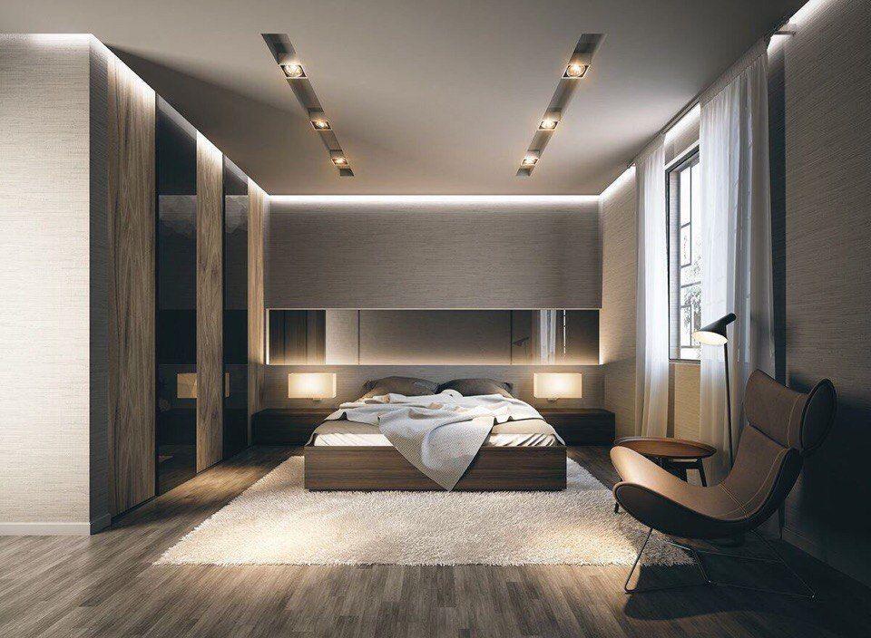 Парящий потолок в современной спальне