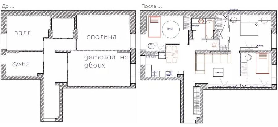 Проект перепланировки 3 комнатной хрущевки в четырехкомнатные апартаменты