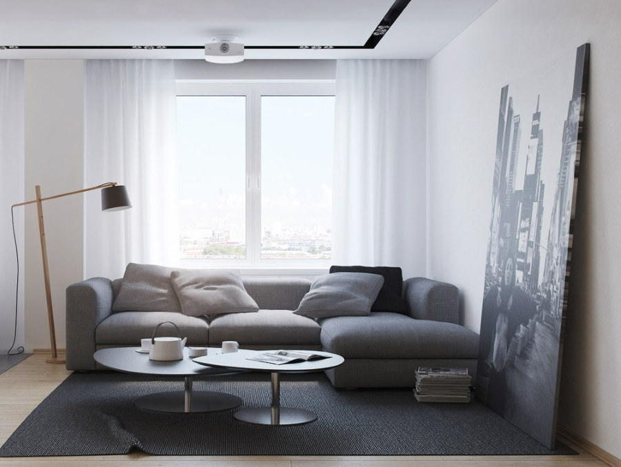 Серая мебель в зале хрущевки с 2 комнатами