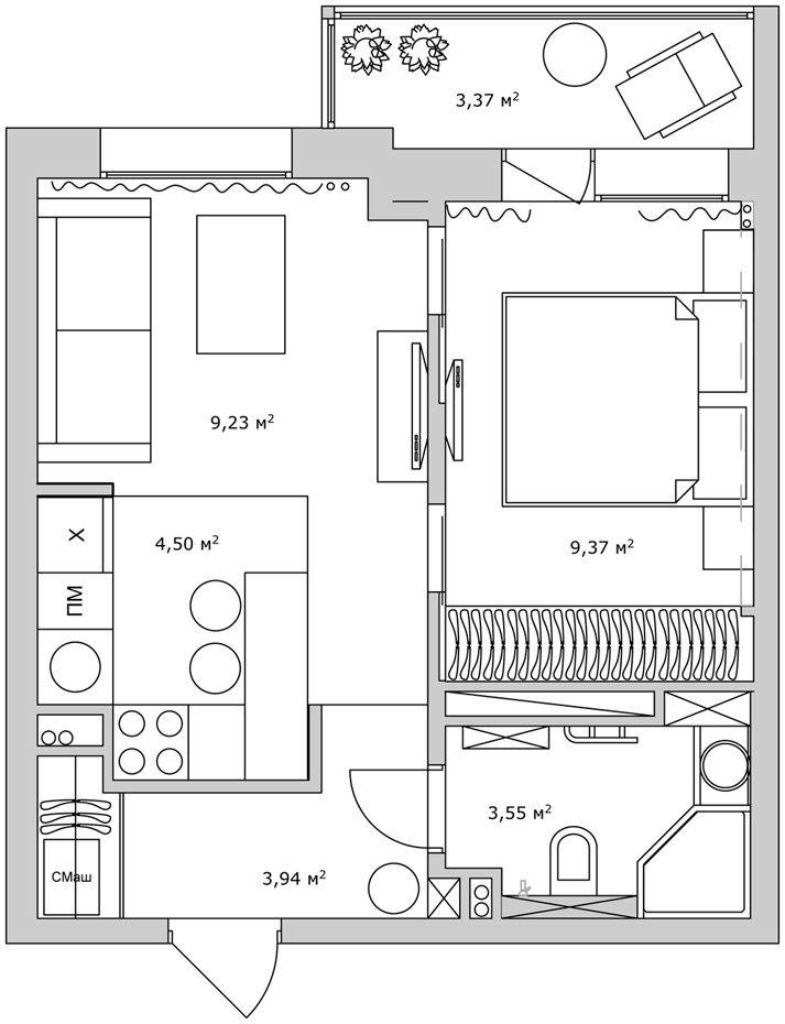 План квартиры-студии после перепланировки
