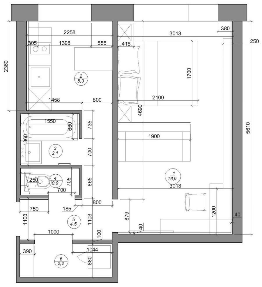 Планировка однушки площадью 30 кв метров с размерами