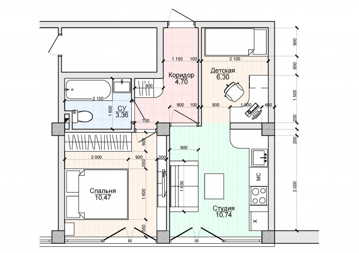 План однушки 35 квадратов для семьи с ребенком