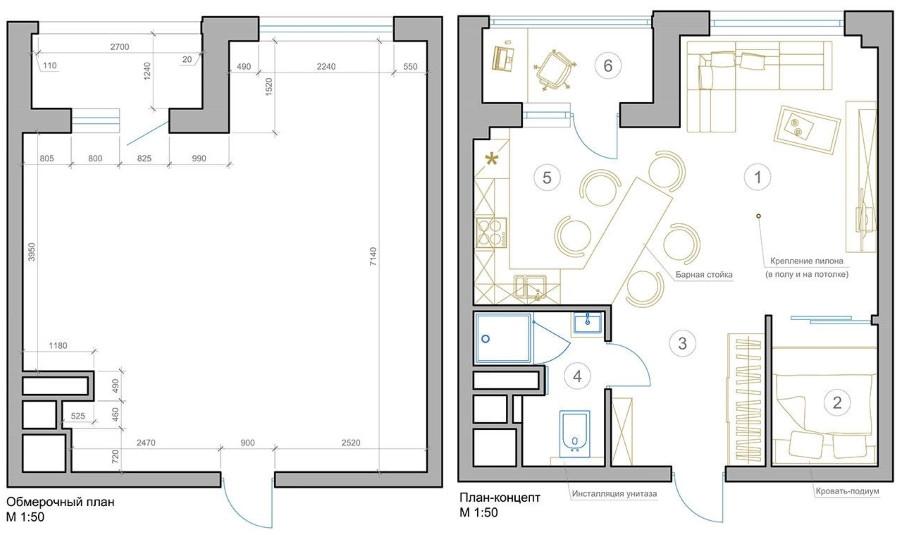 План однокомнатной квартиры площадью 40 кв м