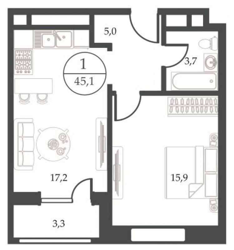План однушки 45 квадратов ванной совмещенного типа
