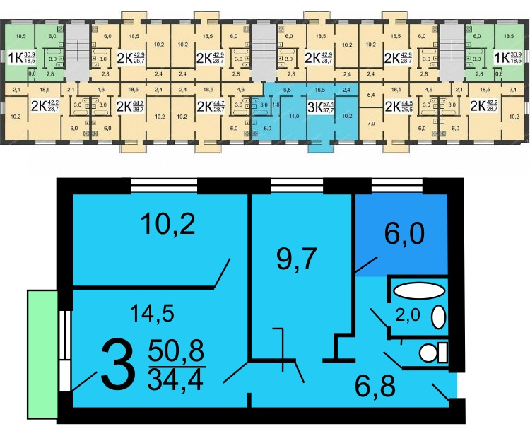 Схема планировки кирпичной хрущевки в доме серии I-447С-54