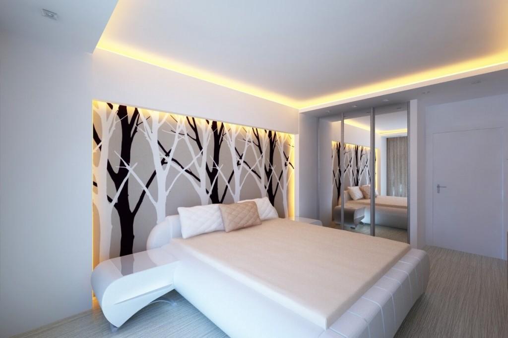 Потолок с подсветкой в спальне современного стиля