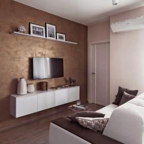 покраска стен в интерьере зала