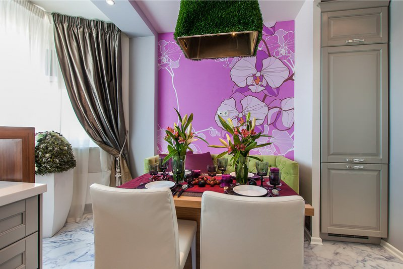 покраска стен в квартире на кухне