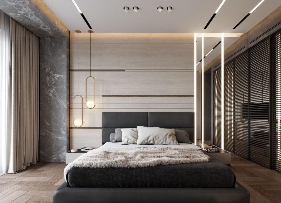 Линейные светильники на гипсокартоном потолке в спальне