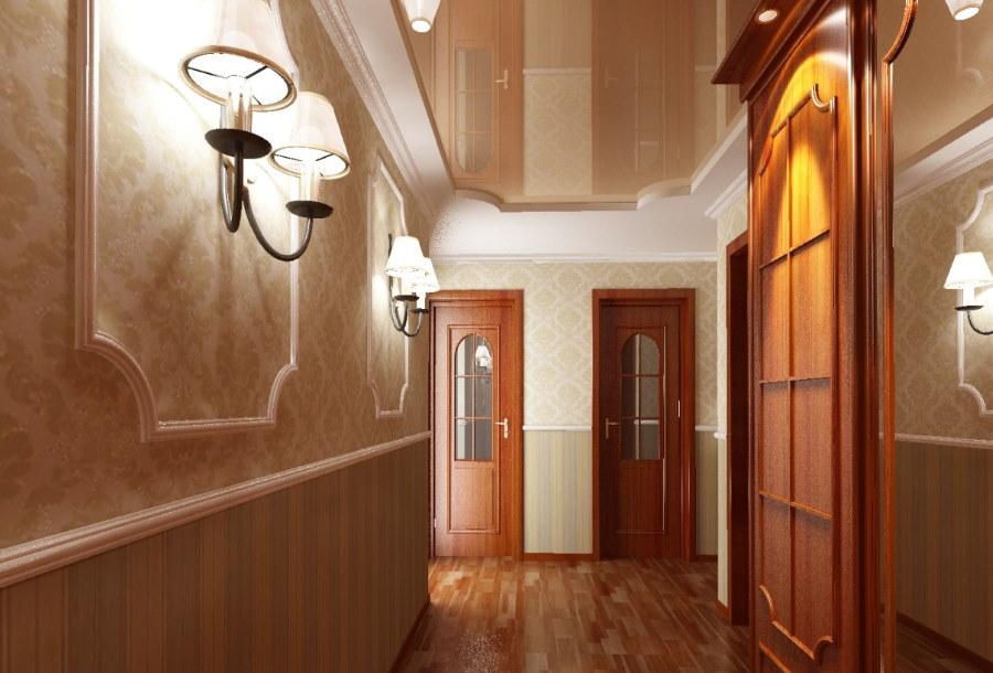Натяжной потолок в коридоре классического стиля