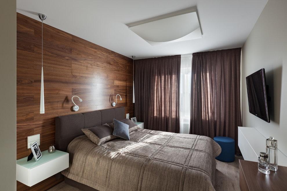Накладной светильник на ровном потолке спальни