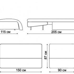 Габаритные размеры дивана с механизмом аккордеон