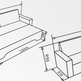 Типовые размеры дивана системы еврокнижка