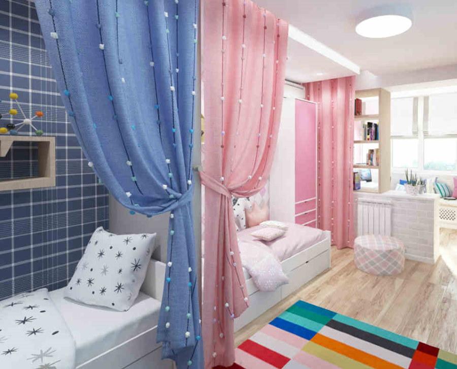 Красивые шторы над детскими кроватями