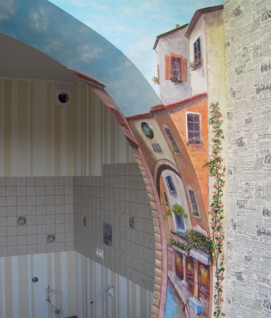 Роспись Венеция на арочном проеме в зале