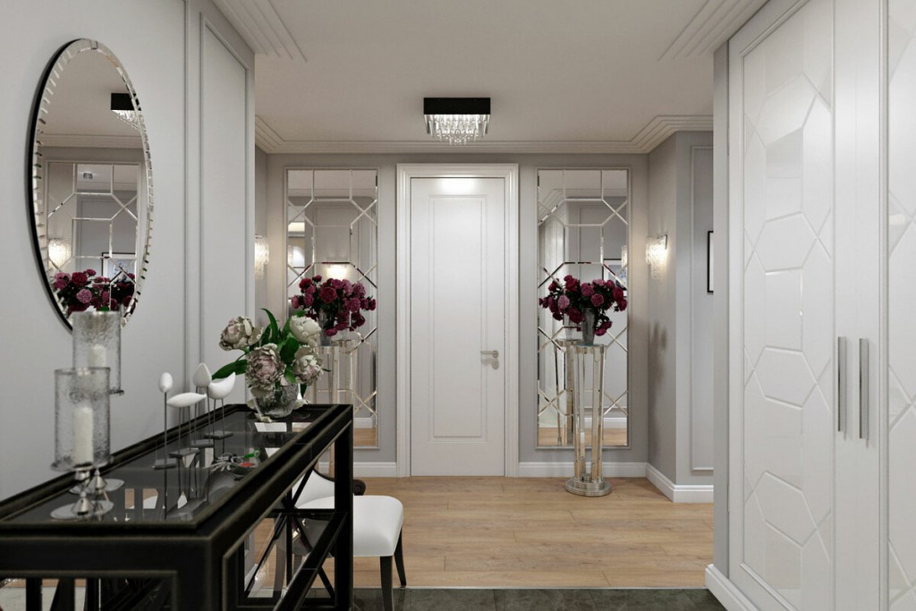 Белые двери в сером коридоре