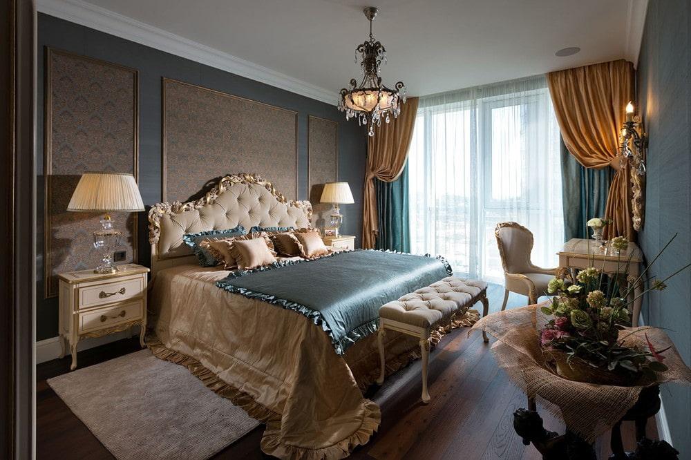 Серо-золотая спальня в стиле классики