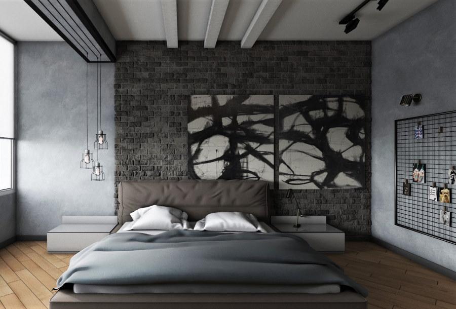 Спальня мужчины в стиле серого лофта