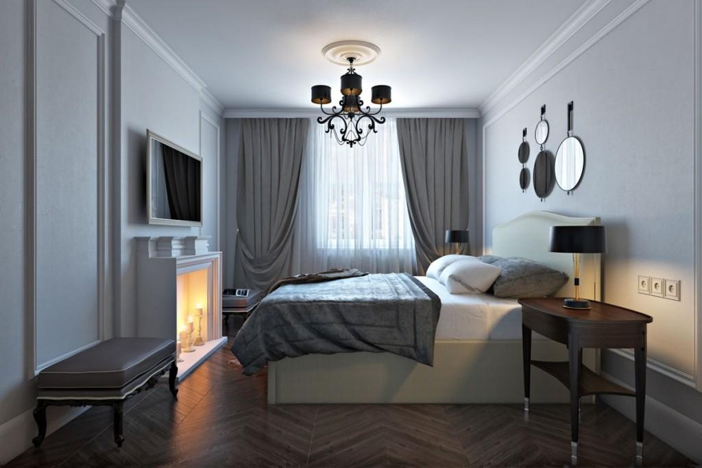 Имитация камина в серой спальне сталинки
