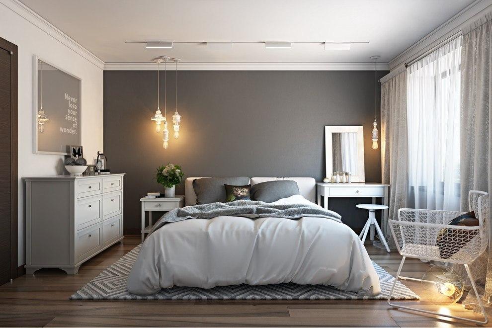 Интерьер серой спальни в современном стиле