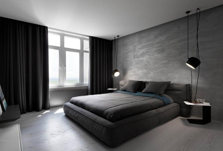 Серо-черная спальня квадратной формы