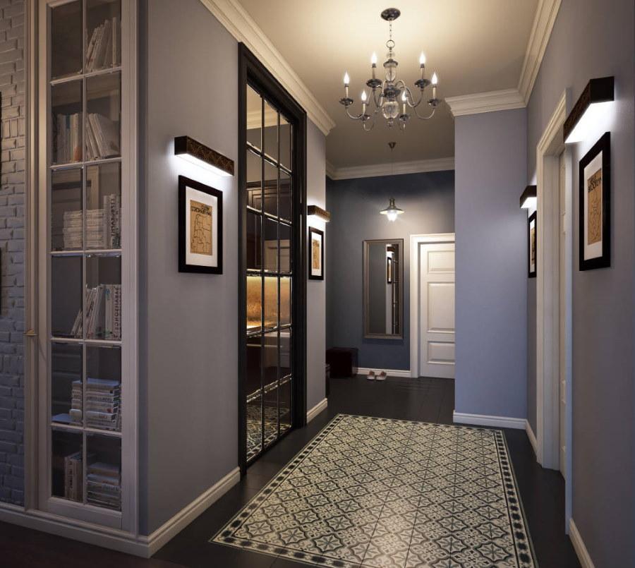 Интерьер коридора с серыми стенами