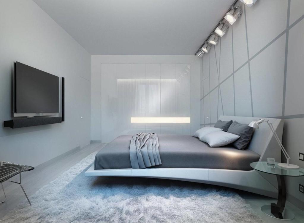 Стильная кровать в серой спальня стиля хай-тек