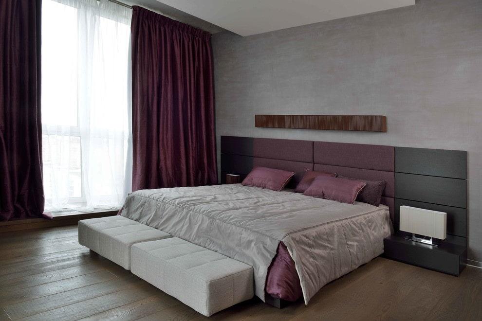 Серая спальня в стиле минимализма