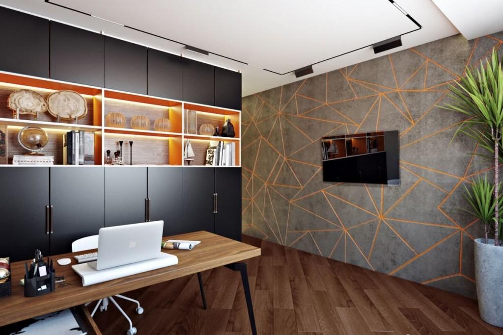 Черные стеллажи в кабинете современного стиля