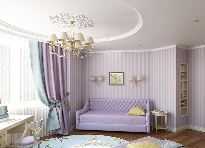 Сиреневый диван в интерьере детской комнаты