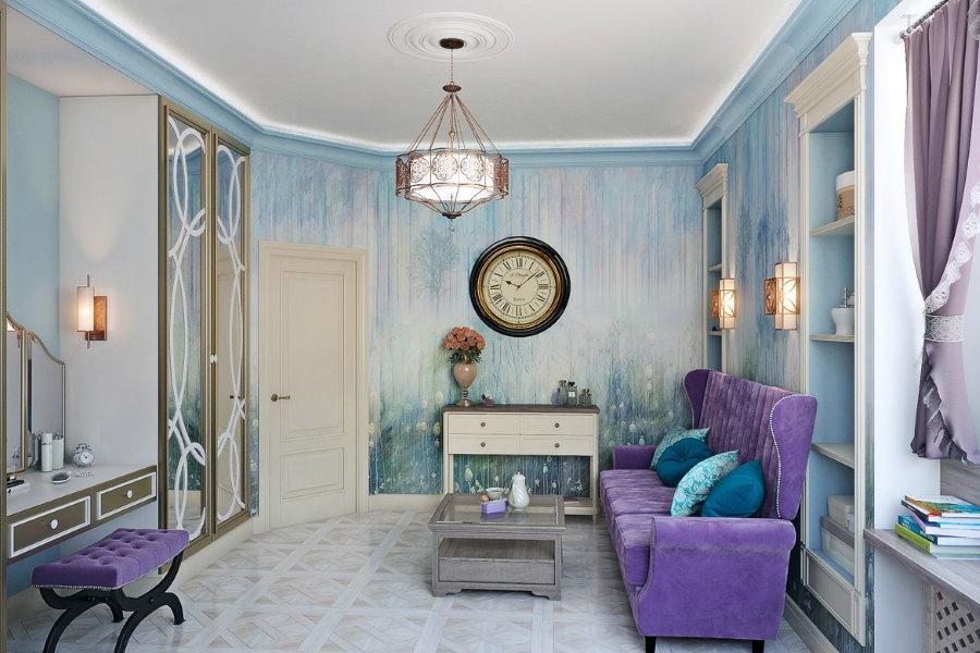 Мягкая мебель сиреневого цвета с обивкой из замши