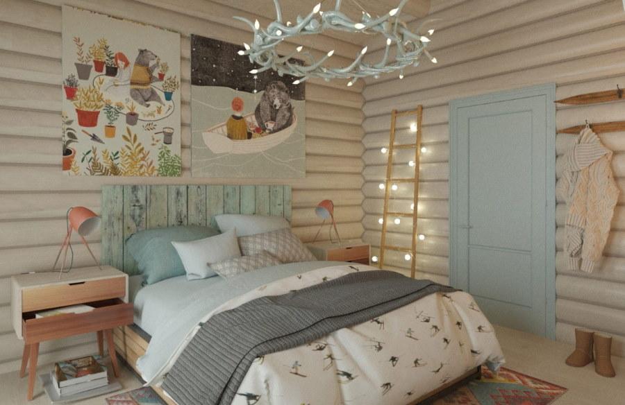 Небольшая спальня в доме скандинавского стиля