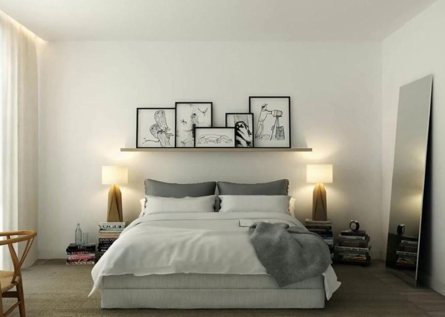 Декор стены спальни в стиле сканди